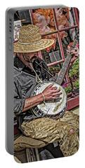 Banjo Man Orange Portable Battery Charger by Jim Thompson