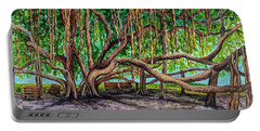 Portable Battery Charger featuring the painting Banyan Tree Park by Darice Machel McGuire