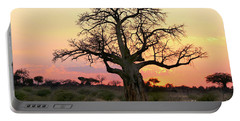 Baobab Tree At Sunset  Portable Battery Charger