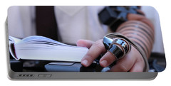 Portable Battery Charger featuring the photograph Bar Mitzvah Celebration With Tefillin  by Yoel Koskas