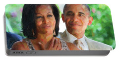 Portable Battery Charger featuring the painting Barack And Michelle Obama by Celestial Images
