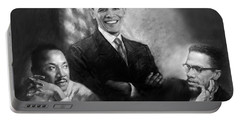 Barack Obama Martin Luther King Jr And Malcolm X Portable Battery Charger by Ylli Haruni