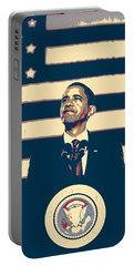 Barack Obama With American Flag 4 Portable Battery Charger