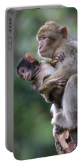 Barbary Macaque Mother And Baby Portable Battery Charger