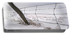 Barbed Wire And Hoar Frost Portable Battery Charger by Dan Jurak
