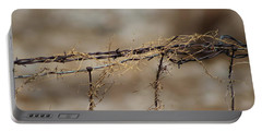 Barbed Wire Entwined With Dried Vine In Autumn Portable Battery Charger