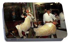 Portable Battery Charger featuring the photograph Barber - A Time Honored Tradition 1941 by Mike Savad