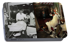 Portable Battery Charger featuring the photograph Barber - A Time Honored Tradition 1941 - Side By Side by Mike Savad
