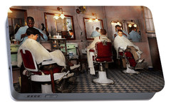 Portable Battery Charger featuring the photograph Barber - Senators-only Barbershop 1937 by Mike Savad