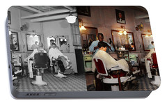 Portable Battery Charger featuring the photograph Barber - Senators-only Barbershop 1937 - Side By Side by Mike Savad