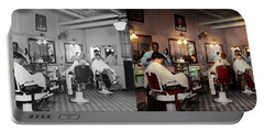 Barber - Senators-only Barbershop 1937 - Side By Side Portable Battery Charger by Mike Savad
