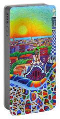 Barcelona Park Guell Sunrise Gaudi Tower Textural Impasto Knife Oil Painting By Ana Maria Edulescu Portable Battery Charger