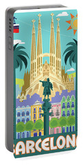 Barcelona Poster - Retro Travel  Portable Battery Charger