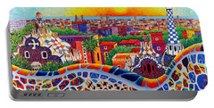 Barcelona Sunrise Colors From Park Guell Modern Impressionism Knife Oil Painting Ana Maria Edulescu Portable Battery Charger