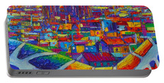 Barcelona View Sagrada From Park Guell Impressionist Abstract City Knife Painting Ana Maria Edulescu Portable Battery Charger