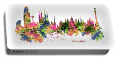 Barcelona Watercolor Skyline Portable Battery Charger by Marian Voicu