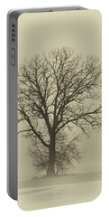 Bare Tree In Fog- Nik Filter Portable Battery Charger by Nancy Landry
