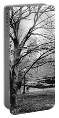 Bare Tree On Walking Path Bw Portable Battery Charger