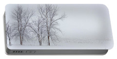 Bare Trees In A Snow Storm Portable Battery Charger