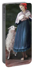 Barefoot Shepherdess Portable Battery Charger by Judy Kirouac