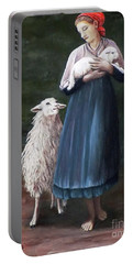Portable Battery Charger featuring the painting Barefoot Shepherdess by Judy Kirouac