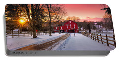 Barn At Sunset  Portable Battery Charger