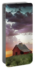 Barn In Stormy Skies Portable Battery Charger
