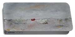 Portable Battery Charger featuring the painting Barn In Winter by Judith Rhue