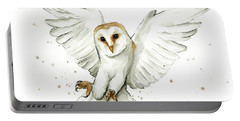 Barn Owl Flying Watercolor Portable Battery Charger