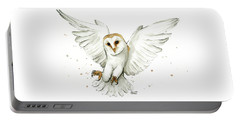 Barn Owl Flying Watercolor Portable Battery Charger by Olga Shvartsur