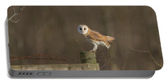 Barn Owl On Fence Portable Battery Charger