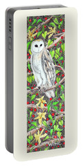 Portable Battery Charger featuring the painting Barn Owl With Lattice Work Of Branches by Lise Winne