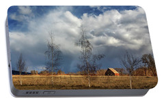 Portable Battery Charger featuring the photograph Barn Storm by James Eddy