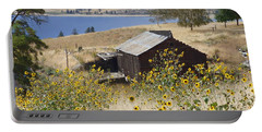 Barn With Sunflowers Portable Battery Charger