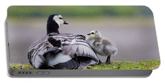 Barnacle Goose With Chick In The Rain Portable Battery Charger