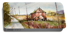 Barns And Electric Poles, Sunday Drive Portable Battery Charger by Judith Levins