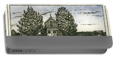 Portable Battery Charger featuring the mixed media Barnstable Yacht Club Etching by Charles Harden