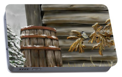 Portable Battery Charger featuring the digital art Barnyard Barrel And Chickadee by Darren Cannell