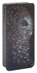 Portable Battery Charger featuring the drawing Barred Owl 2 by Laurianna Taylor