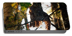 Barred Owl At Sunrise Portable Battery Charger