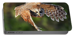 Barred Owl Flying Toward You Portable Battery Charger