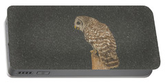 Barred Owl In Snowfall Portable Battery Charger
