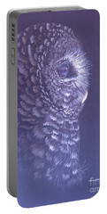 Portable Battery Charger featuring the drawing Barred Owl by Laurianna Taylor