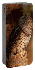 Portable Battery Charger featuring the digital art Barred Owl Sleeping In A Tree by Chris Flees