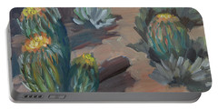 Portable Battery Charger featuring the painting Barrel Cactus At Tortilla Flat by Diane McClary
