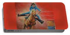 Portable Battery Charger featuring the painting Barrel Racing by Jeanette French
