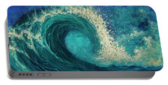 Portable Battery Charger featuring the painting Barrel Wave by Darice Machel McGuire