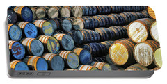 Barrels In The Speyside Whisky Town Of Dufftown, Scotland Portable Battery Charger
