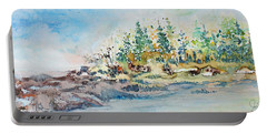 Portable Battery Charger featuring the painting Barrier Bay by Joanne Smoley