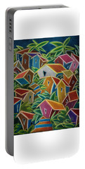 Portable Battery Charger featuring the painting Barrio Lindo by Oscar Ortiz
